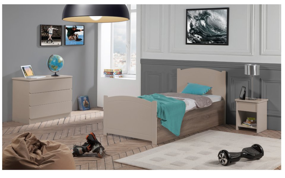 armoire b b enfant 2 portes grise. Black Bedroom Furniture Sets. Home Design Ideas