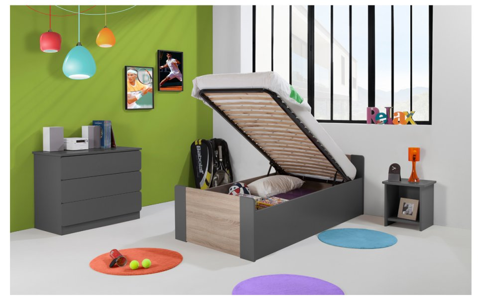 tiroir de lit enfant blanc 90x190. Black Bedroom Furniture Sets. Home Design Ideas