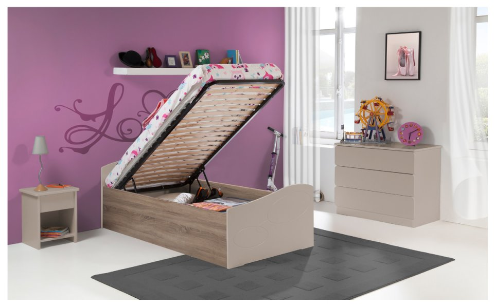 lit gigogne enfant 90x190 ebene taupe et marron. Black Bedroom Furniture Sets. Home Design Ideas