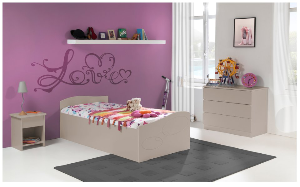 lit enfant 90x190 taupe et marron avec tiroir. Black Bedroom Furniture Sets. Home Design Ideas