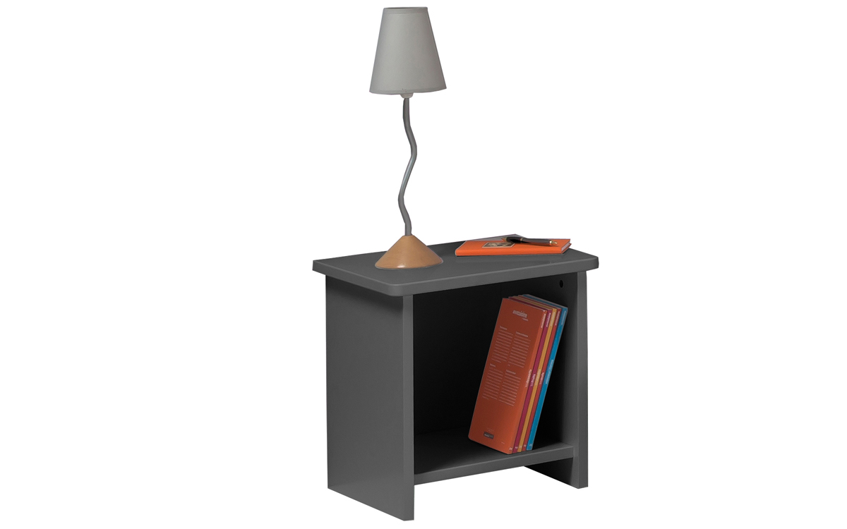 Chambre Enfant Ado New Delhi Lit 90x190 Couleur Carbone table chevet niche + Commode