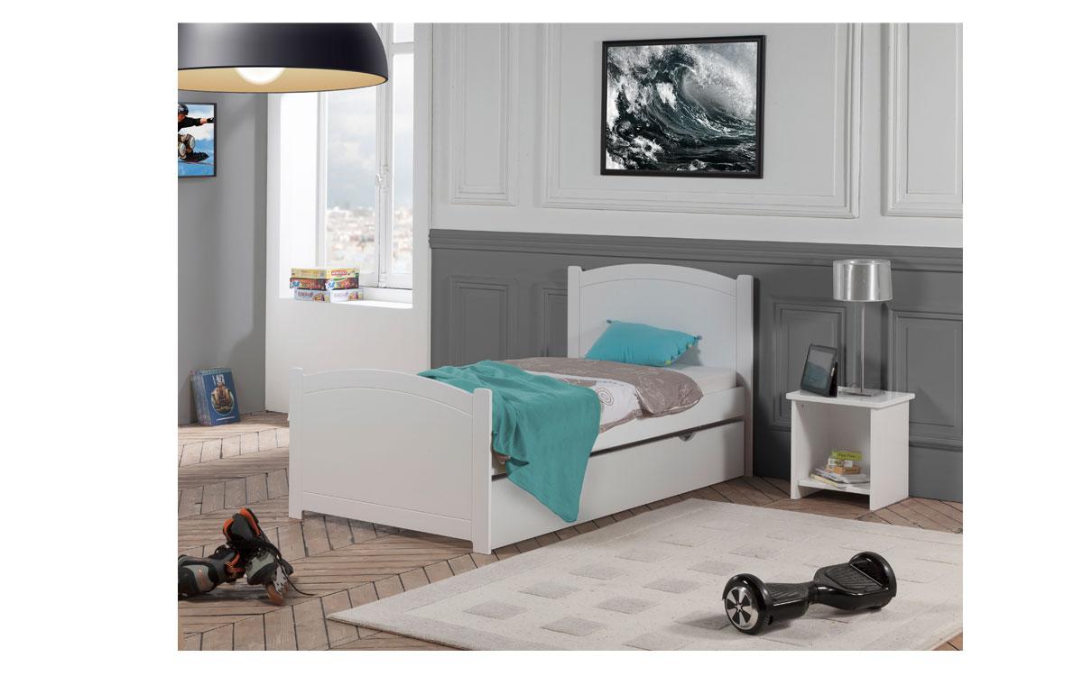 pack 4 pi ces lit gigogne sommier matelas table chevet niche florence 90x190 couleur blanc. Black Bedroom Furniture Sets. Home Design Ideas
