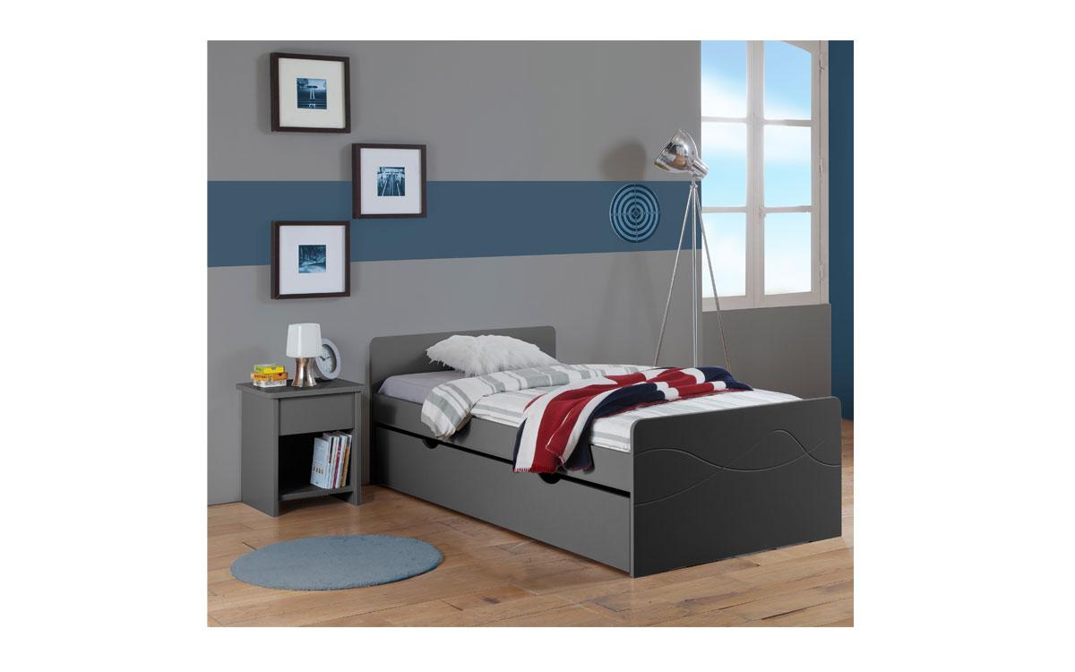 pack 3 pi ces lit enfant ado tiroir sommier matelas table chevet tiroir tahiti 90x190. Black Bedroom Furniture Sets. Home Design Ideas