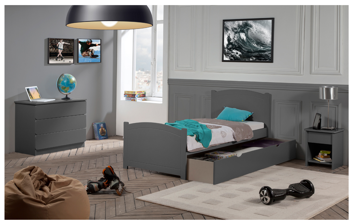 pack 4 pi ces lit enfant ado avec tiroir rangement florence 90x190 cm sommier matelas. Black Bedroom Furniture Sets. Home Design Ideas