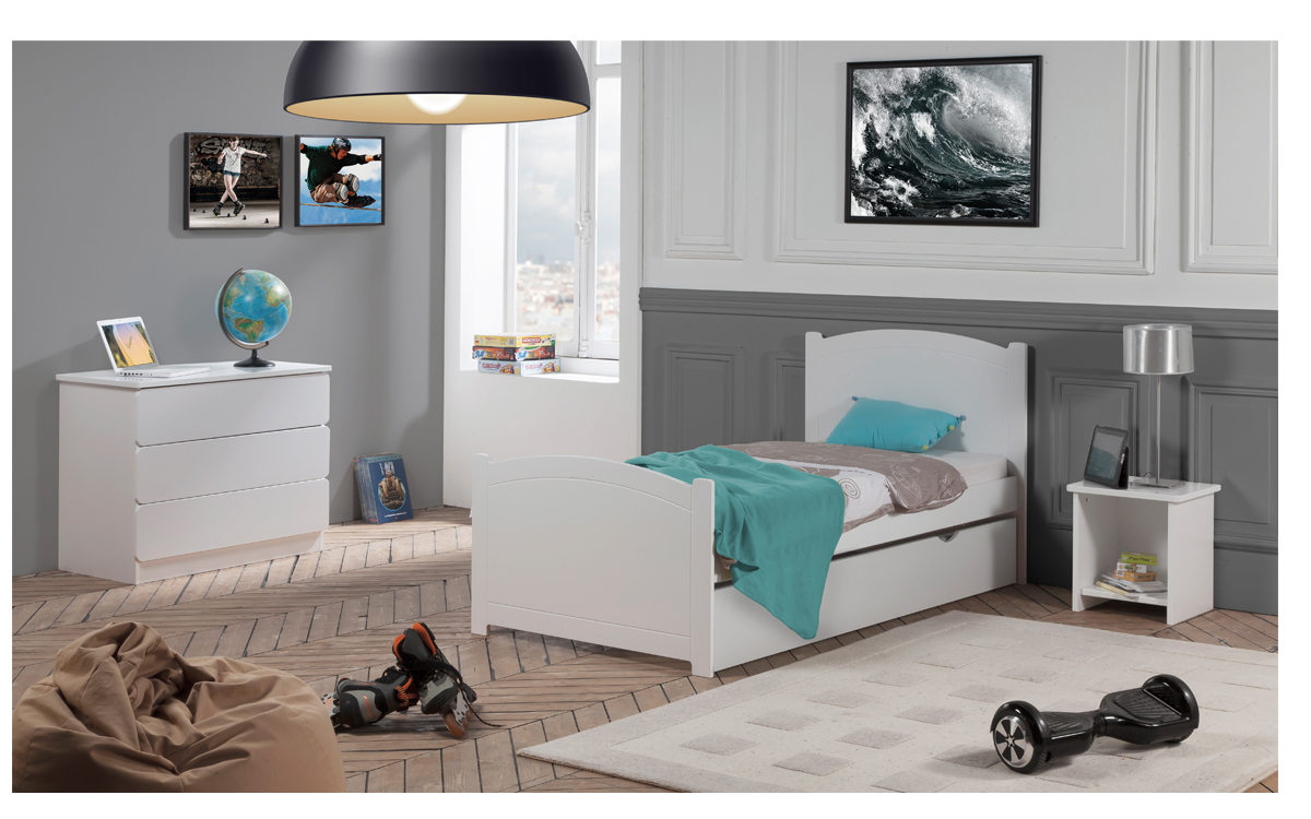 pack 4 pi ces lit enfant ado avec tiroir rangement. Black Bedroom Furniture Sets. Home Design Ideas