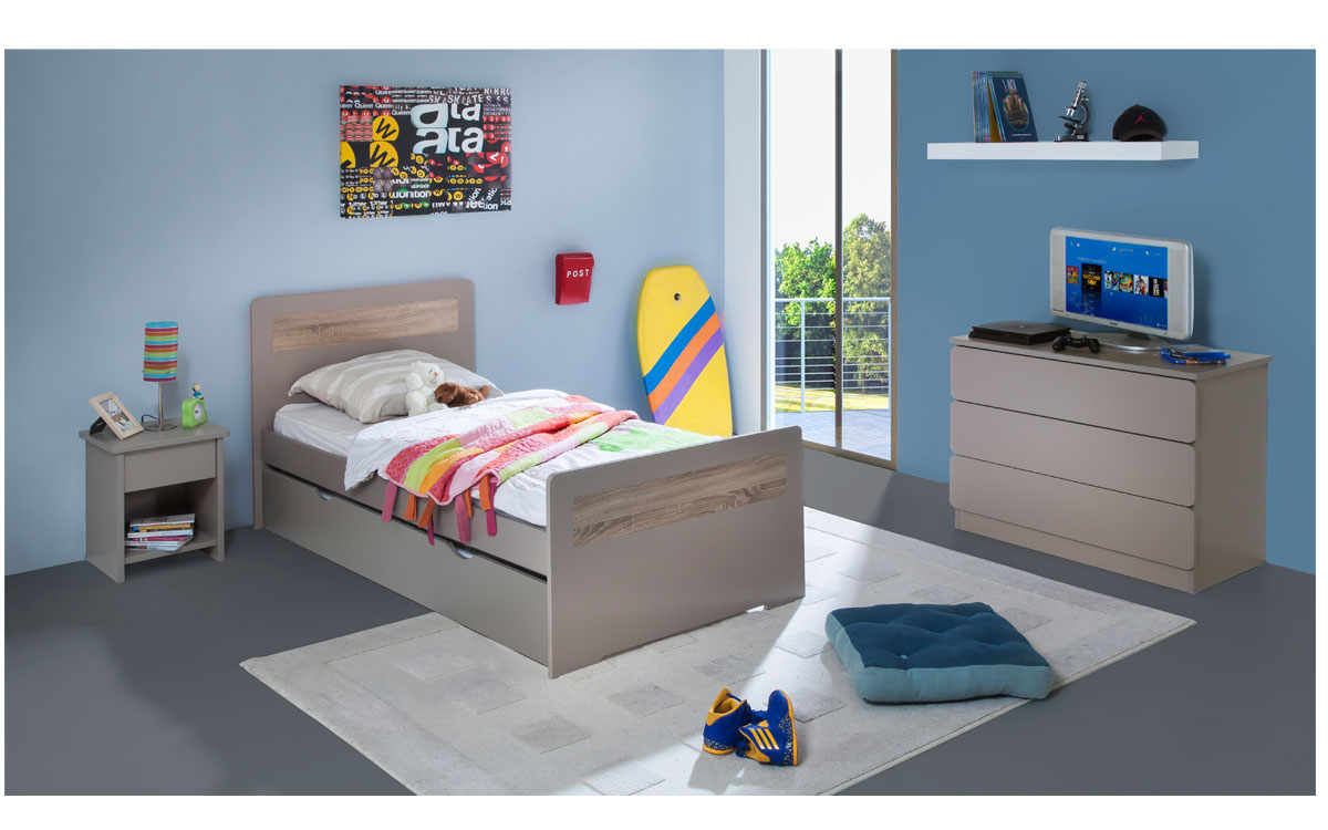 pack 4 pi ces lit enfant ado avec tiroir rangement new delhi 90x190 cm sommier matelas. Black Bedroom Furniture Sets. Home Design Ideas