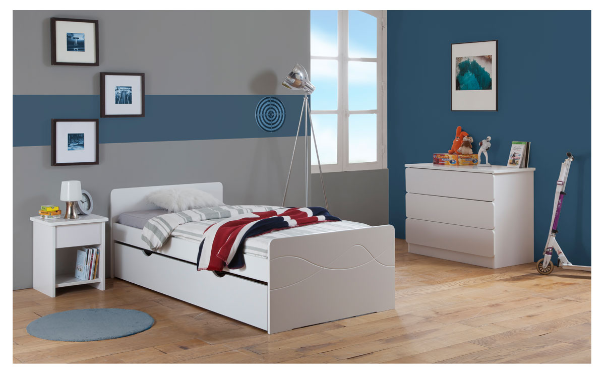 pack 4 pi ces lit enfant ado avec tiroir rangement tahiti. Black Bedroom Furniture Sets. Home Design Ideas
