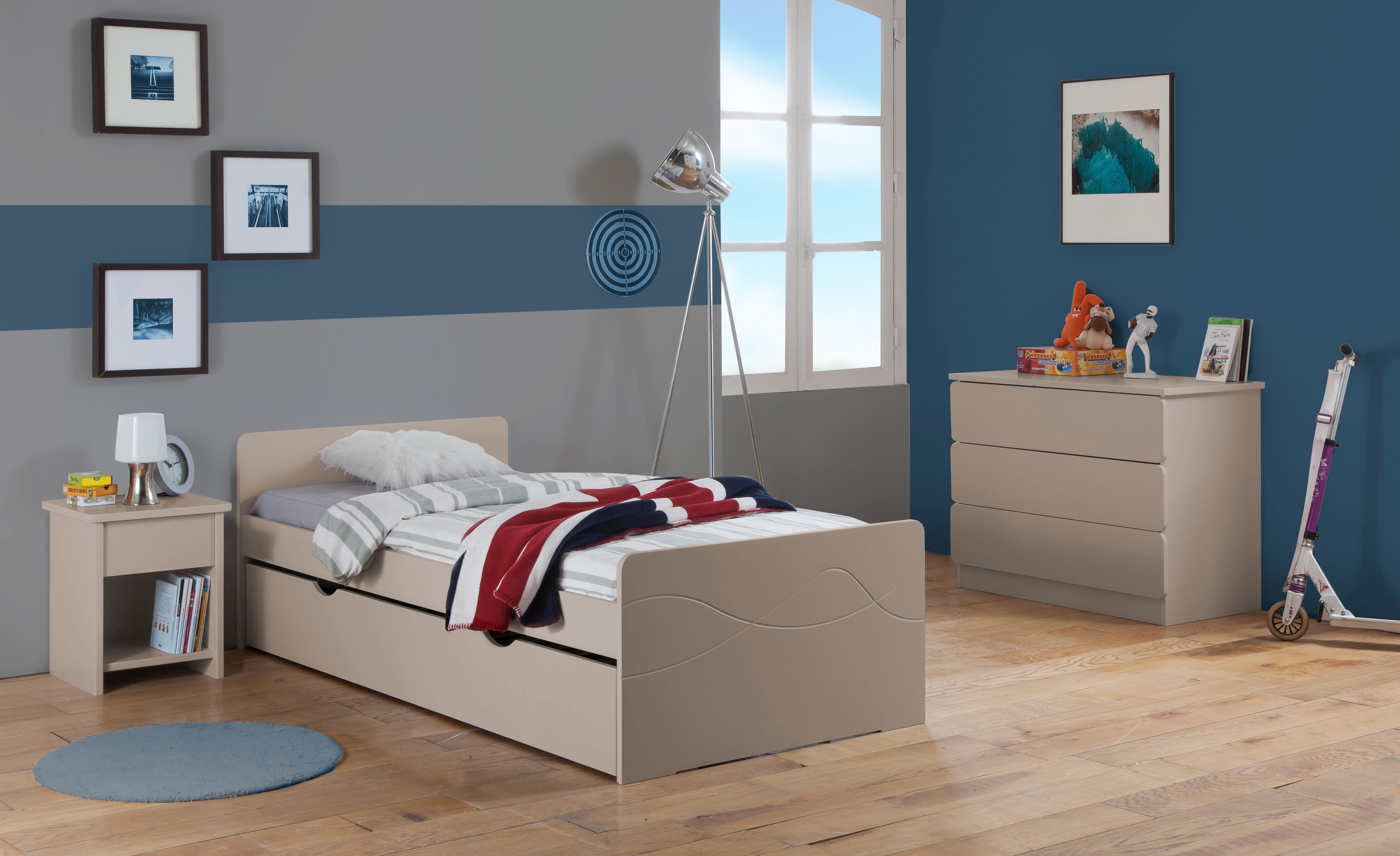 Chambre enfant ado tahiti lit 90x190 tiroir rangement couleur argile table chevet tiroir - Chambre enfant couleur ...