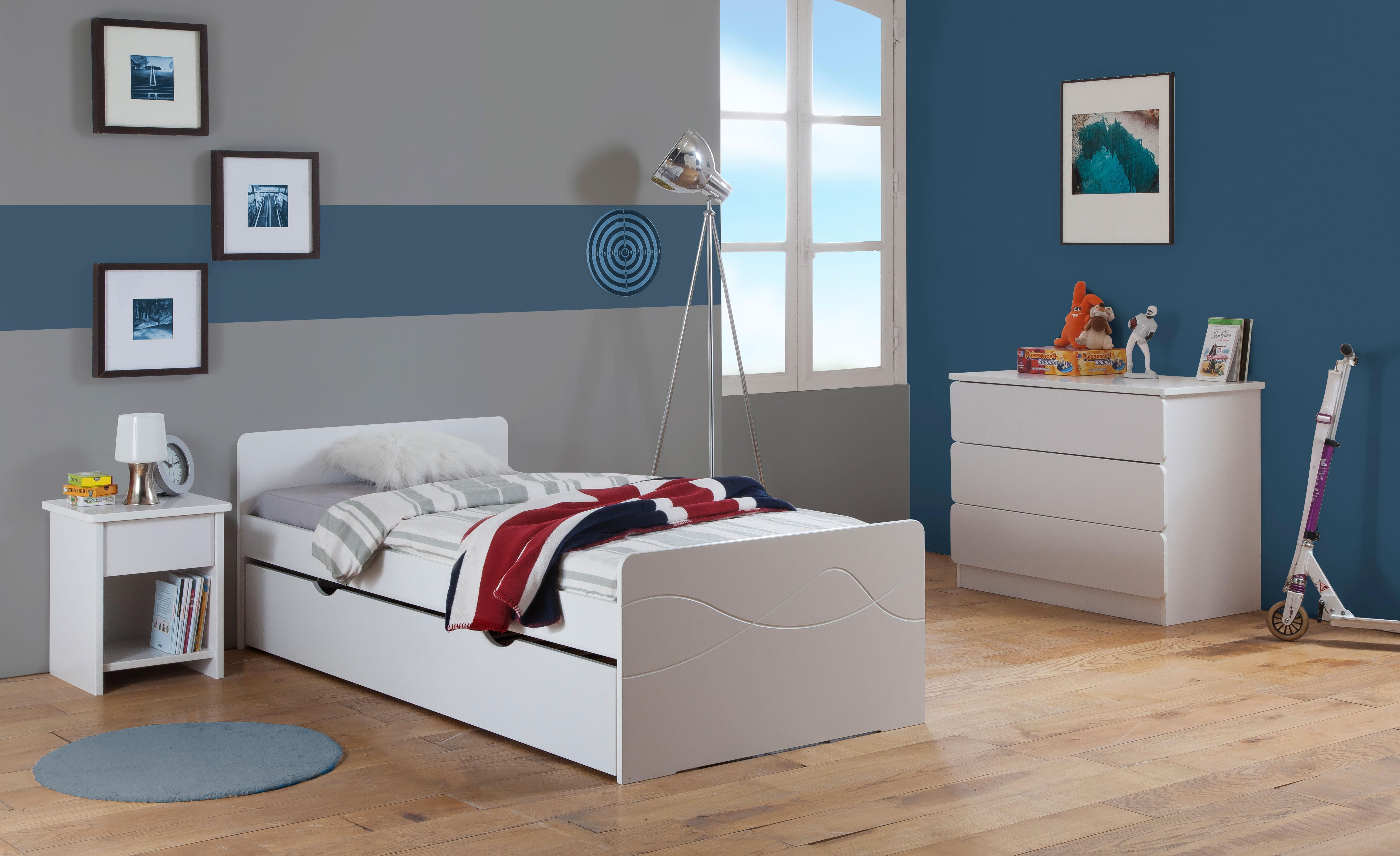 Chambre Enfant Ado Tahiti Lit 90x190 Tiroir Rangement Couleur Blanc ...