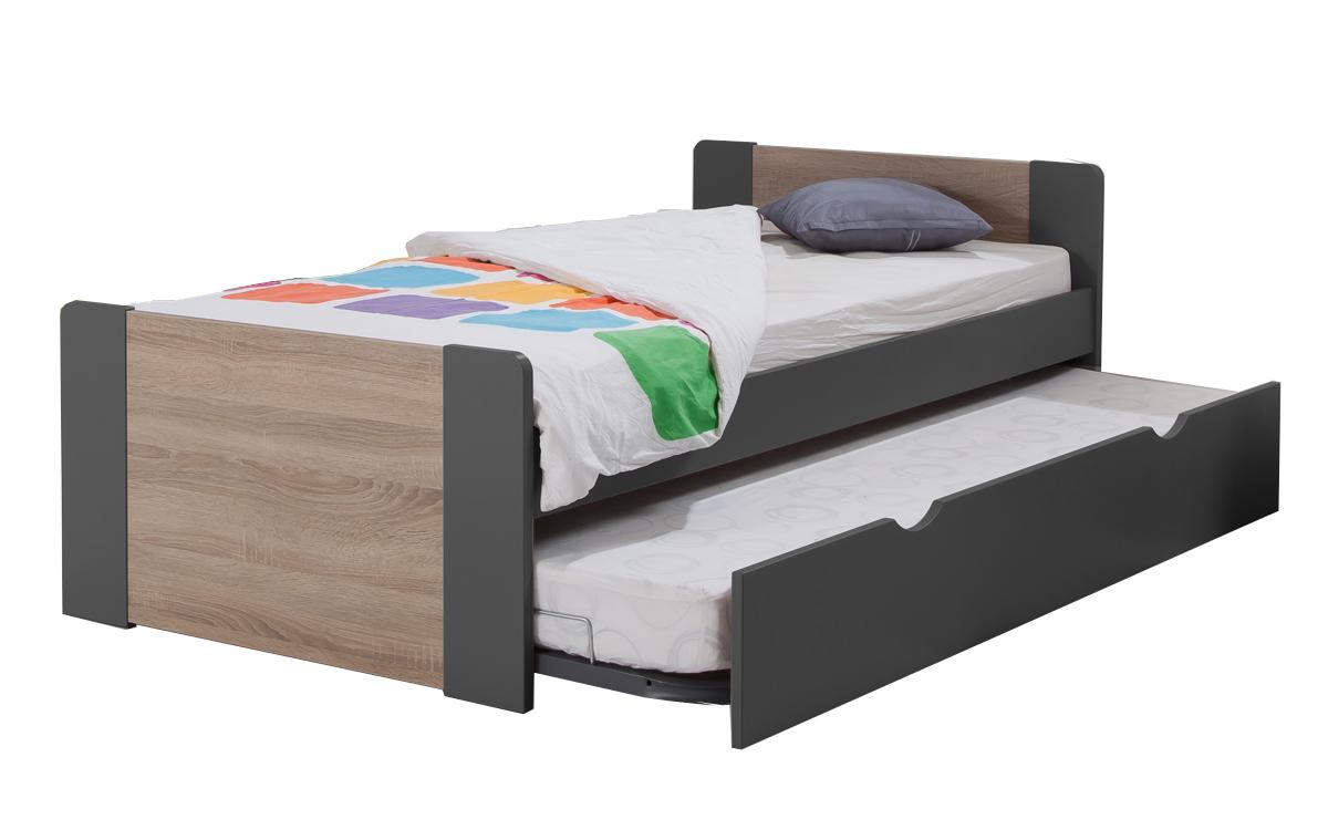 pack 3 pi ces lit gigogne sommier matelas montr al 90x190 couleur carbone. Black Bedroom Furniture Sets. Home Design Ideas