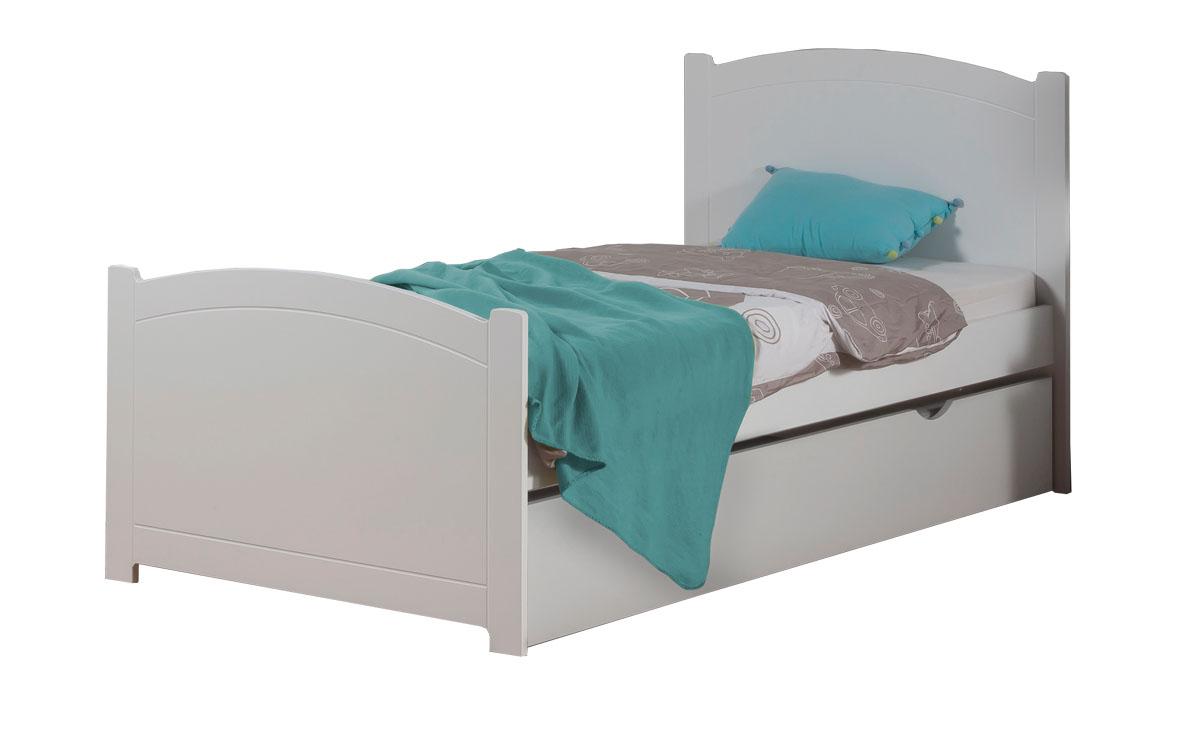lit enfant ado avec tiroir rangement florence 90x190 couleur blanc - Lit Enfant Avec Tiroir