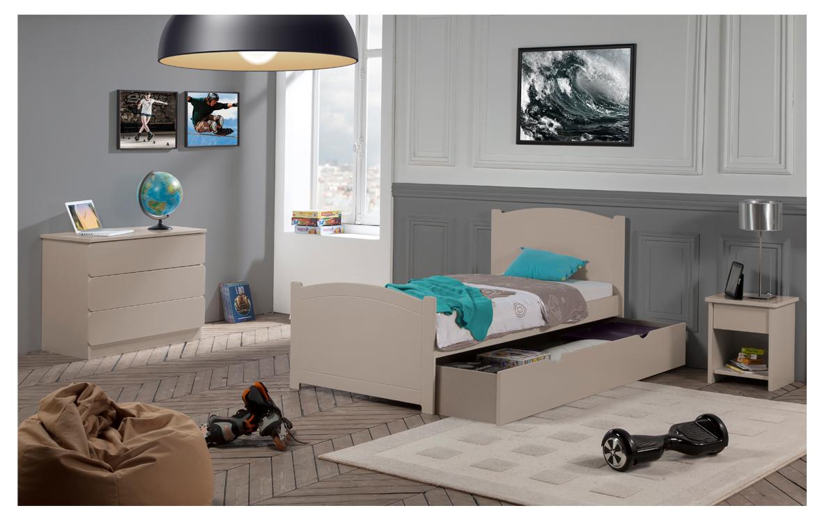 Chambre Enfant Ado Florence Lit 90x190 Tiroir Rangement Couleur Argile  Table Chevet Tiroir + Commode