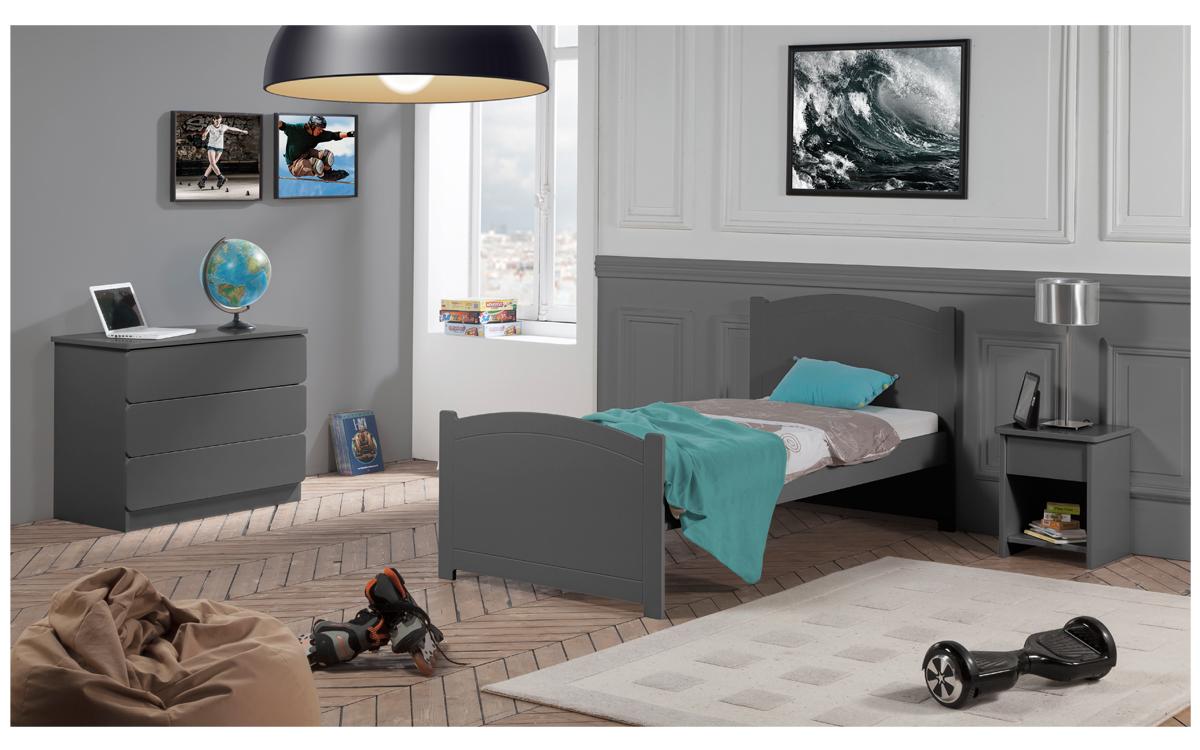 Chambre Complète Lit Carbone 90x190 Chevet Commode