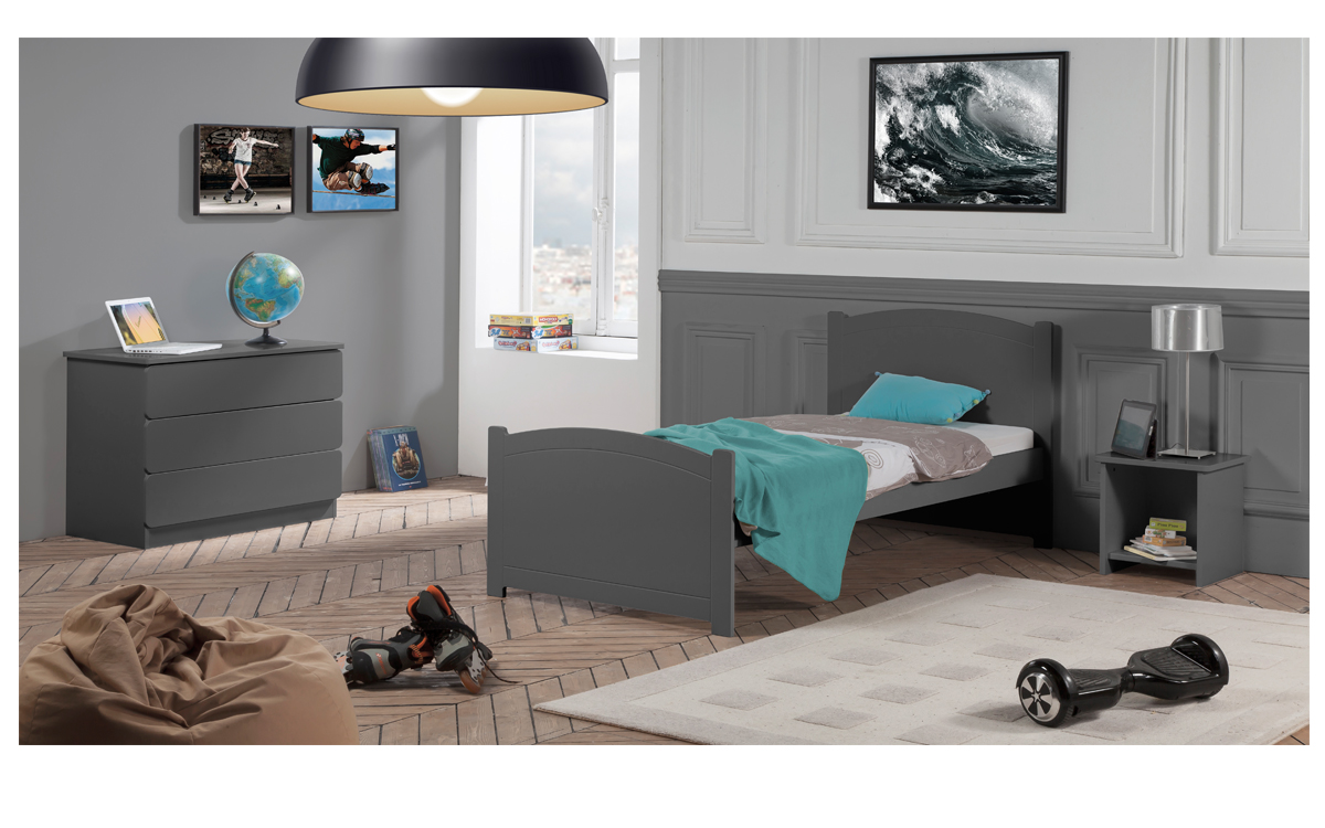 Chambre Enfant Ado Florence Lit 90x190 Couleur Carbone table chevet niche + Commode