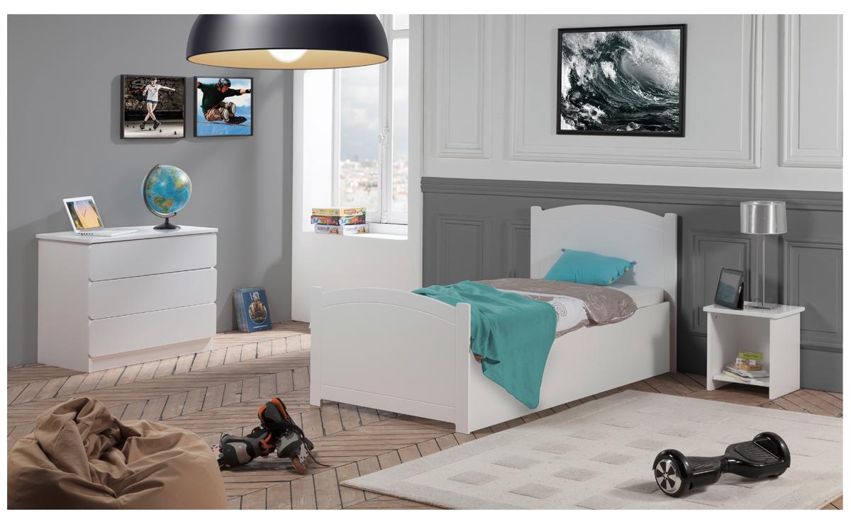 Chambre Enfant Ado Florence Lit 90x190 Sommier Relevable ...