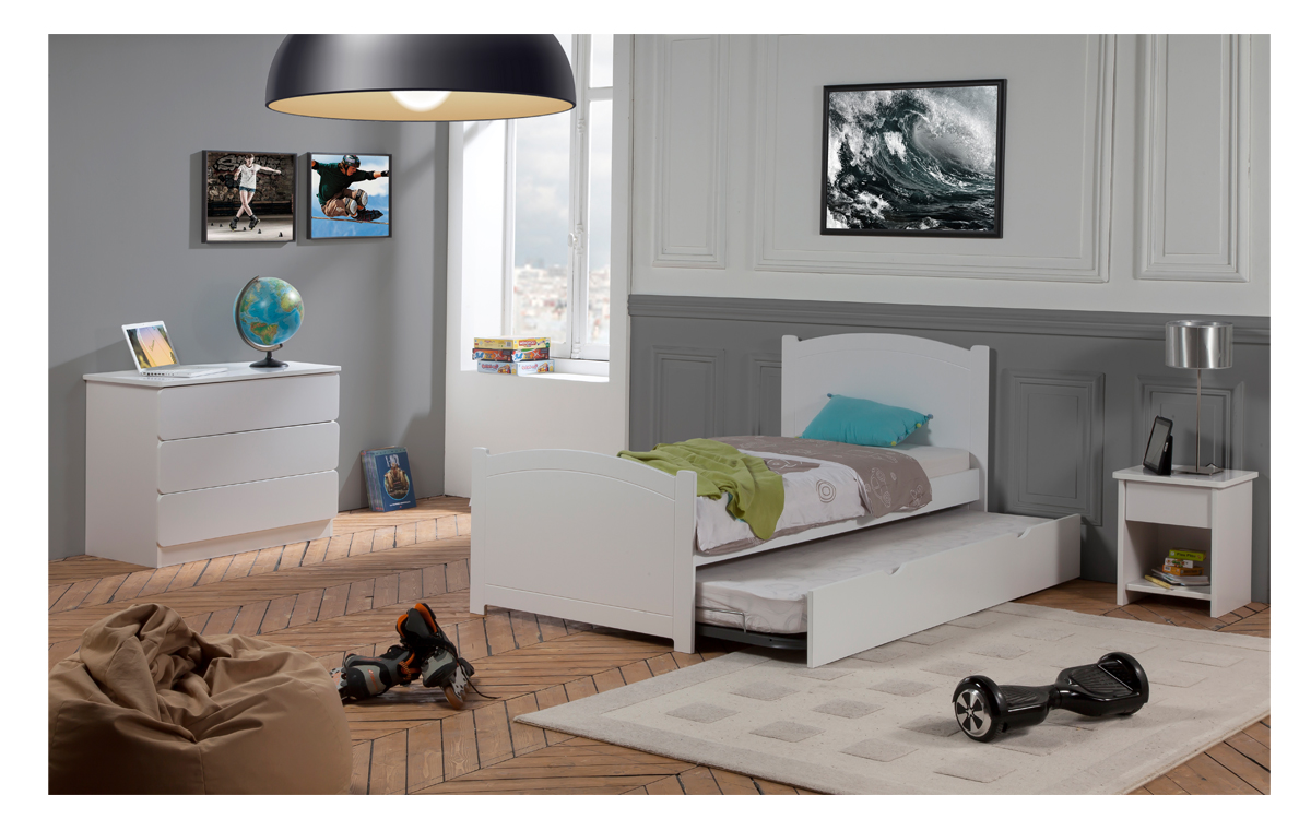 Chambre Enfant Ado Florence Lit 90x190 Gigogne Couleur Blanc table ...