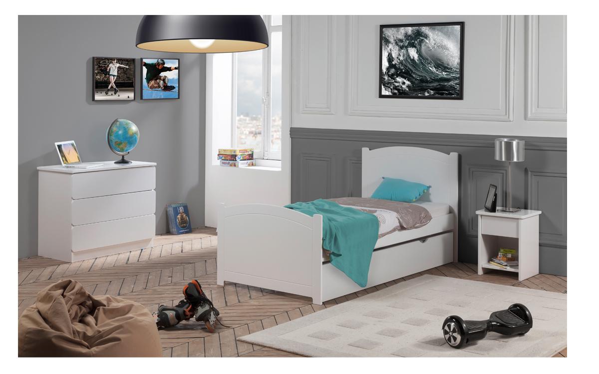 chambre enfant ado florence lit 90x190 tiroir rangement. Black Bedroom Furniture Sets. Home Design Ideas