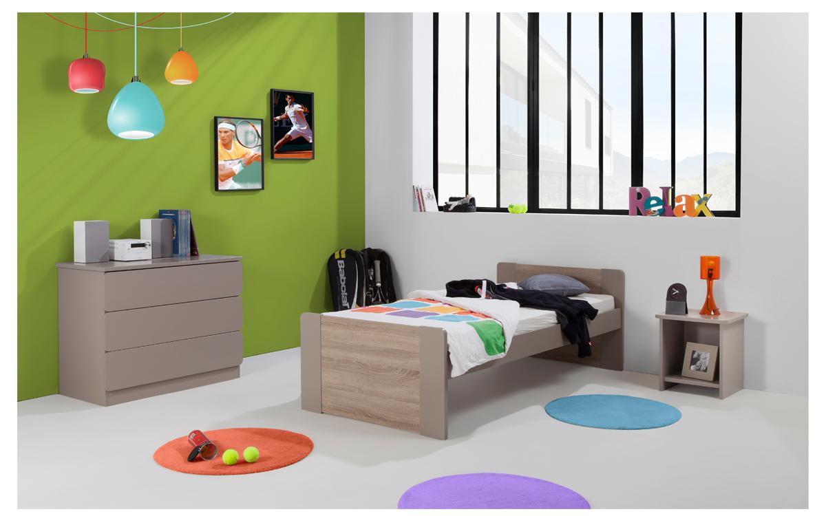 Chambre Enfant Ado Montreal Lit 90x190 Couleur Argile Table Chevet