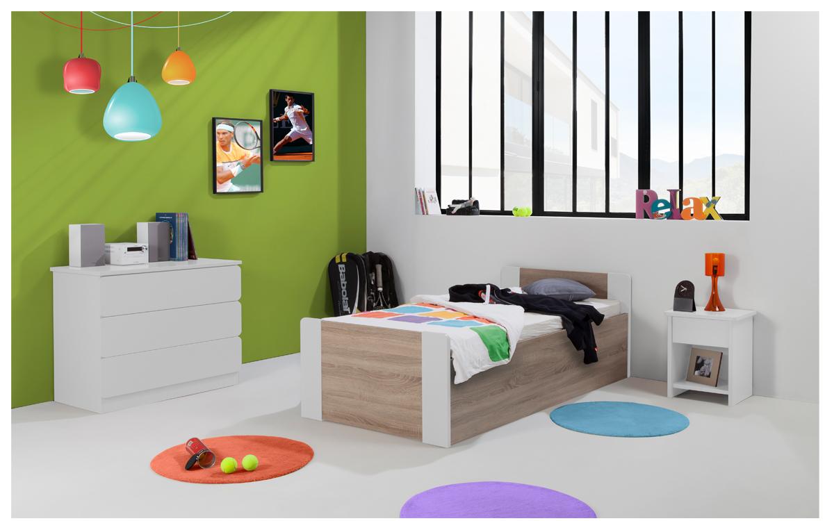Chambre Enfant Ado Montréal Lit 90x190 Sommier Relevable Pans Bois