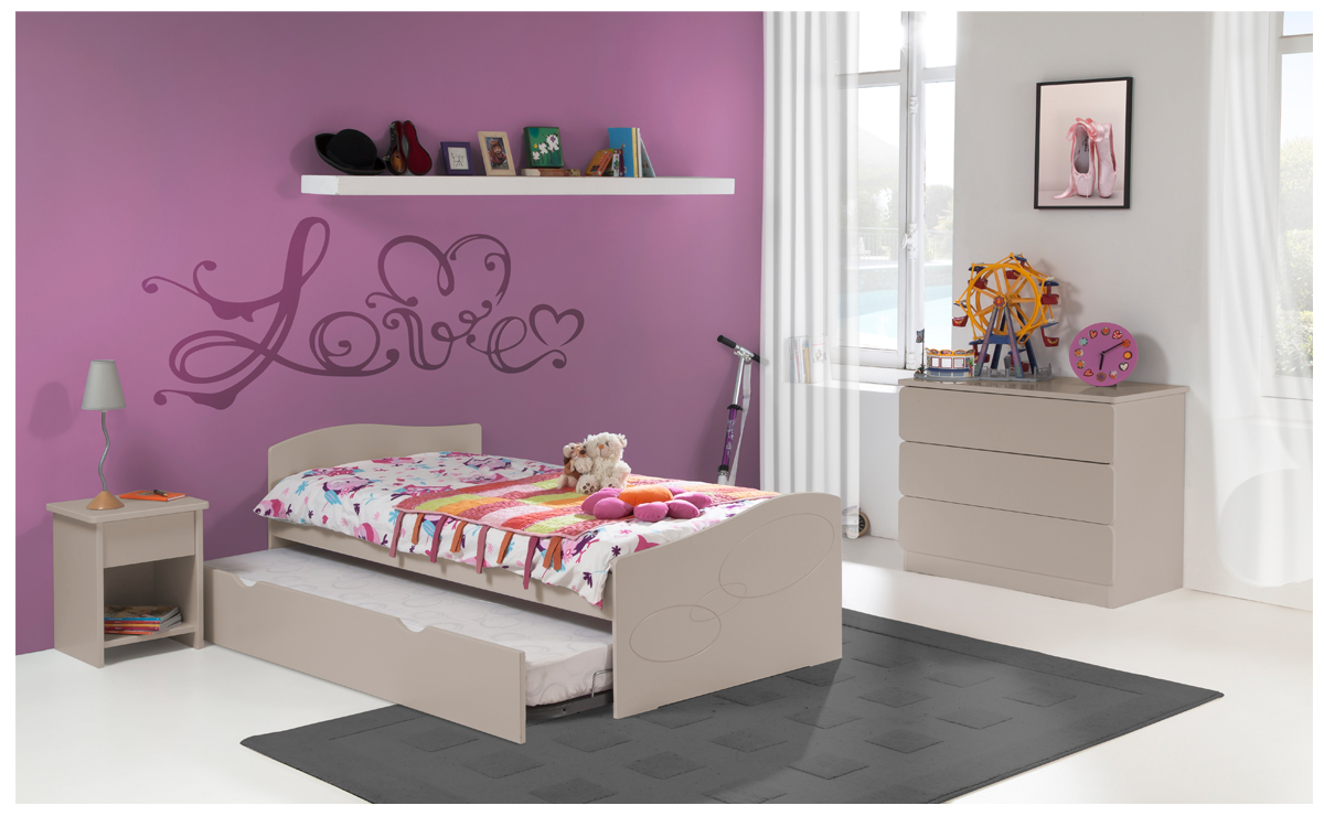 chambre enfant ado moscou lit 90x190 gigogne couleur. Black Bedroom Furniture Sets. Home Design Ideas