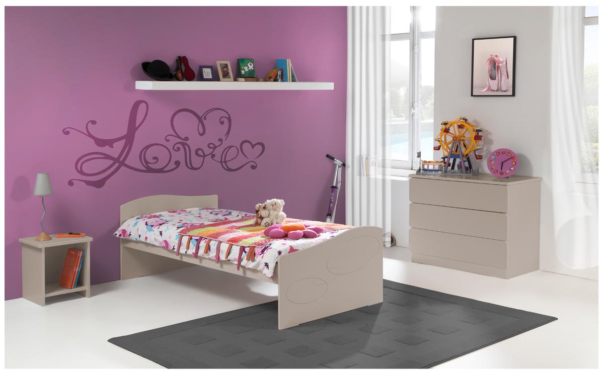 Chambre Enfant Ado Moscou Lit 90x190 Couleur Argile table chevet ...