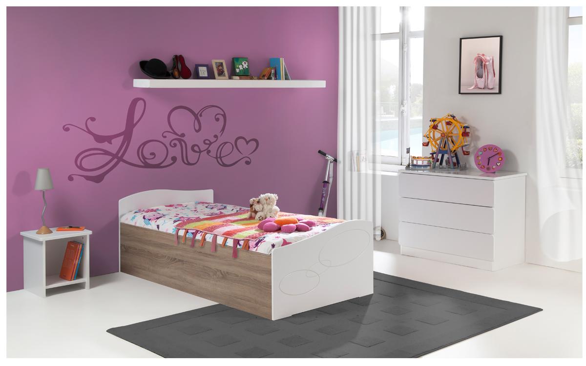 Chambre enfant ado moscou lit 90x190 sommier relevable pans bois couleur blanc table chevet niche - Chambre bois blanc ...