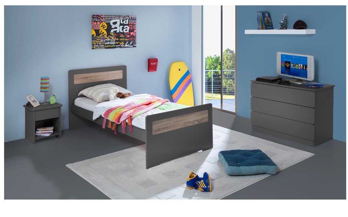 chambre enfant ado new delhi lit 90x190 couleur carbone. Black Bedroom Furniture Sets. Home Design Ideas