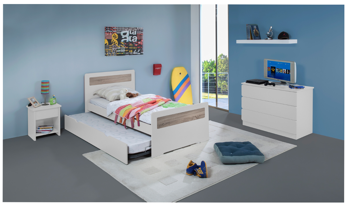 Chambre Enfant Ado New Delhi Lit 90x190 Gigogne Couleur Blanc Table