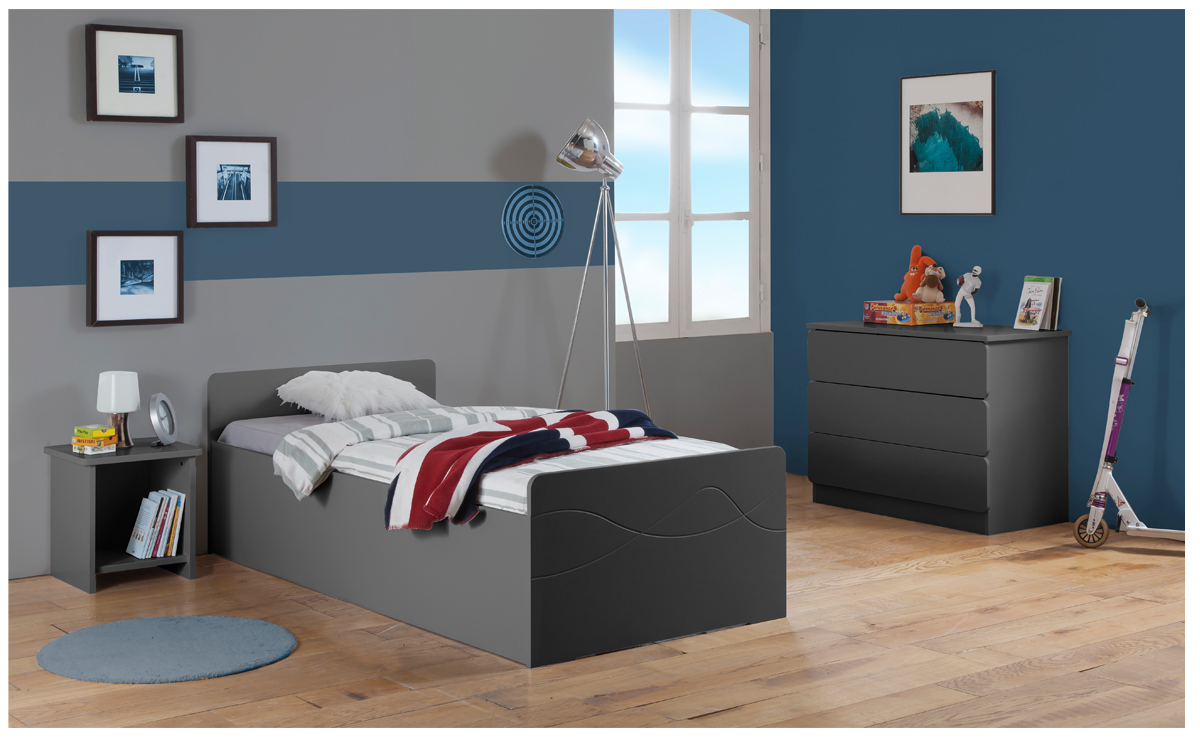 Chambre complète | Lit relevable enfant | Carbone Laqué
