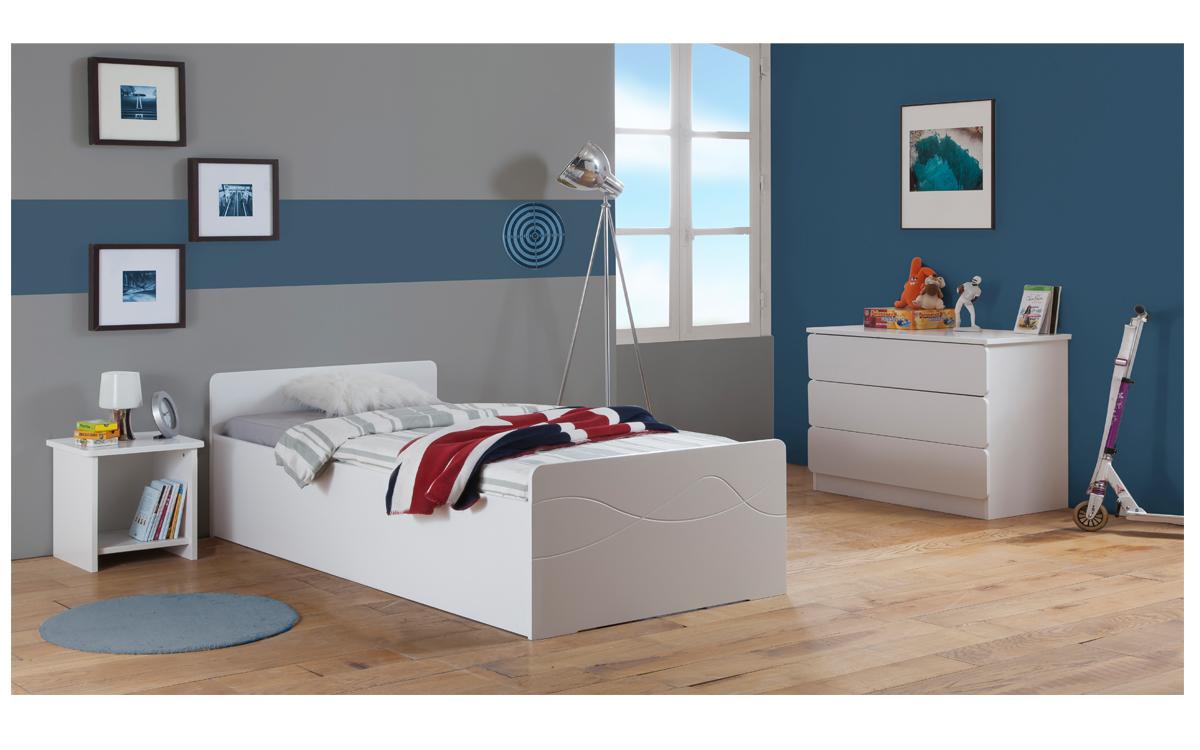Rangement enfant | Chambre lit relevable fille | Blanc Laqué