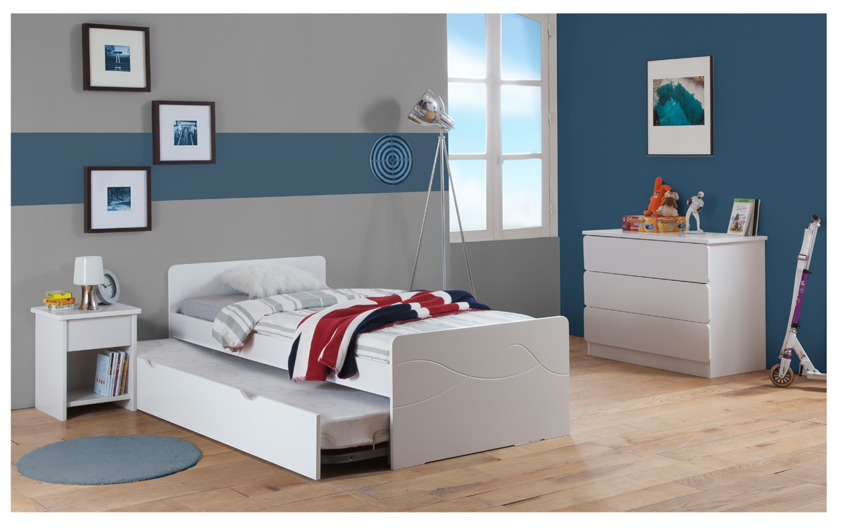 chambre enfant ado tahiti lit 90x190 gigogne couleur blanc. Black Bedroom Furniture Sets. Home Design Ideas