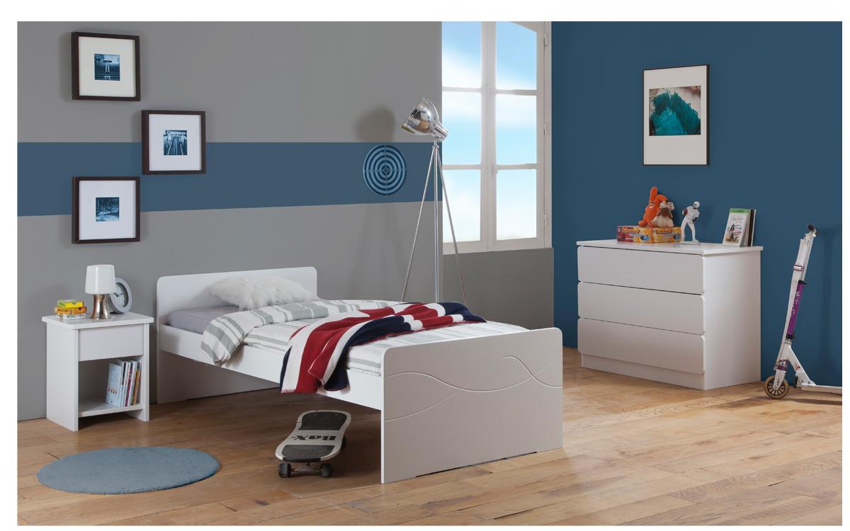 Chambre Enfant Ado Tahiti Lit 90x190 Couleur Blanc Table Chevet Tiroir