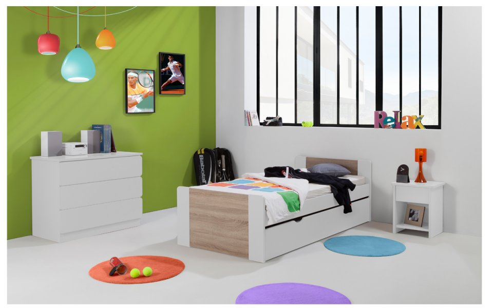 chambre enfant ado florence lit 90x190 tiroir rangement. Black Bedroom Furniture Sets. Home Design Ideas