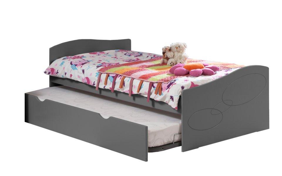 pack 3 pi ces lit gigogne sommier matelas moscou 90x190 couleur carbone. Black Bedroom Furniture Sets. Home Design Ideas