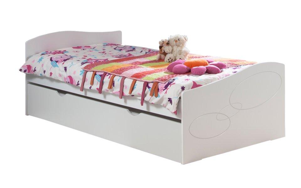 lit enfant ado avec tiroir rangement moscou 90x190 couleur blanc. Black Bedroom Furniture Sets. Home Design Ideas