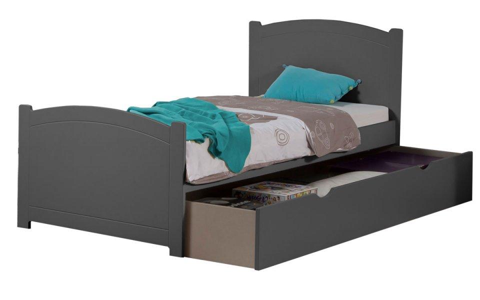 pack 2 pi ces lit enfant ado tiroir sommier matelas tahiti 90x190 couleur carbone. Black Bedroom Furniture Sets. Home Design Ideas
