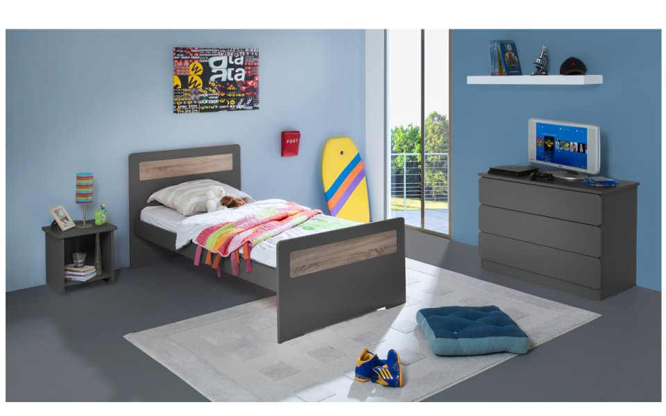 Image Chambre Enfant Ado New Delhi Lit 90x190 Couleur Carbone table chevet niche + Commode
