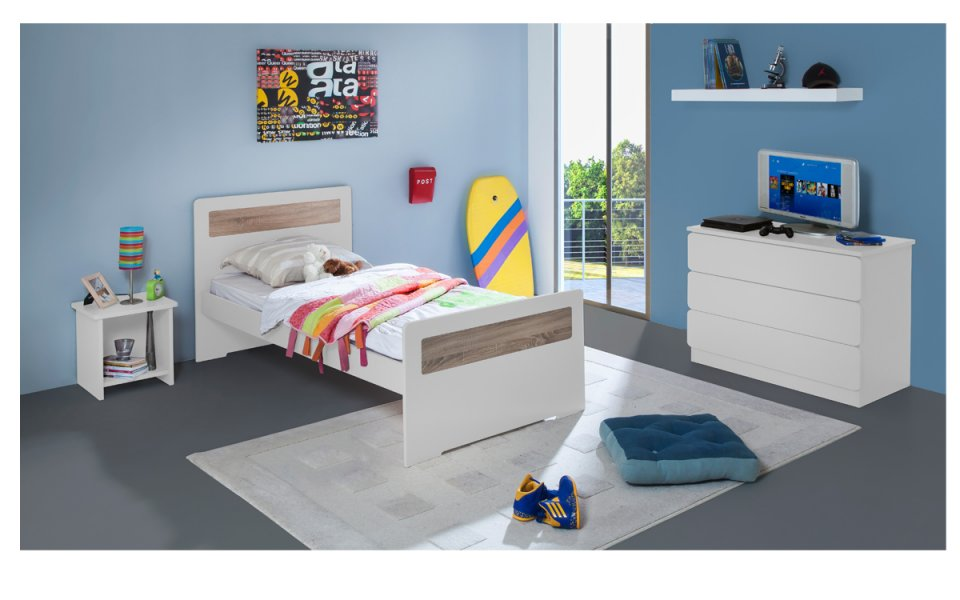 Image Chambre Enfant Ado New Delhi Lit 90x190 Couleur Blanc table chevet niche + Commode