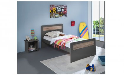 Image Pack Lit Enfant Ado Sommier Matelas Table Chevet Niche New Delhi 90x190 Couleur Carbone