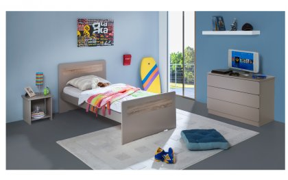 Image Chambre Enfant Ado New Delhi Lit 90x190 Couleur Argile table chevet niche + Commode