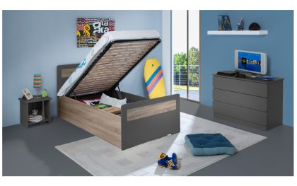 Image Chambre Enfant Ado New Delhi Lit 90x190 Sommier Relevable Pans Bois Couleur Carbone table chevet niche + Commode